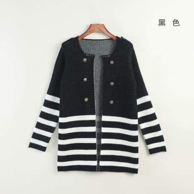 Striped Mid-Length Cardigan - Black / M - Cardigan