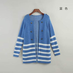 Striped Mid-Length Cardigan - Blue / M - Cardigan