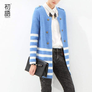 Striped Mid-Length Cardigan - Cardigan