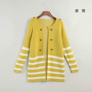 Striped Mid-Length Cardigan - Yellow / L - Cardigan