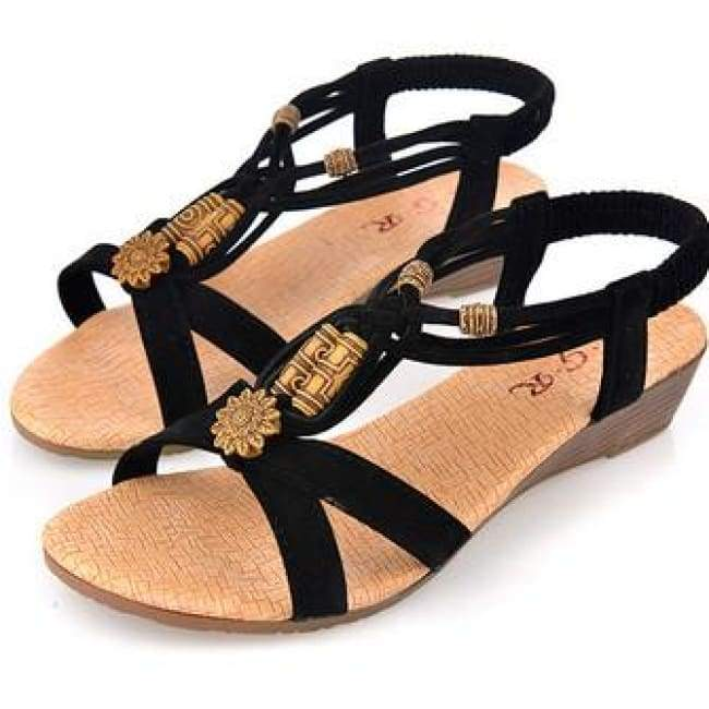 Summer Fashion Sandals - Black / 6 - Sandals