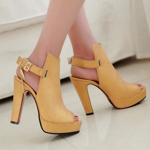 Toe Gladiator Chunky High Heels Shoes - shoes