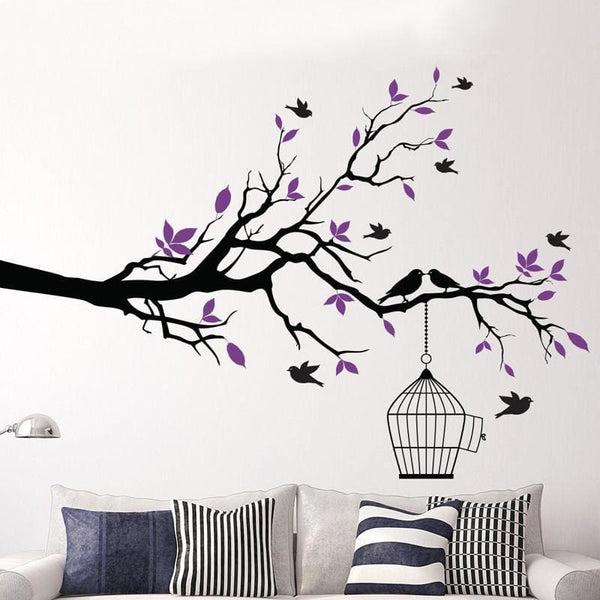 Tree Branch with Bird Cage Wall Art - Wall Art