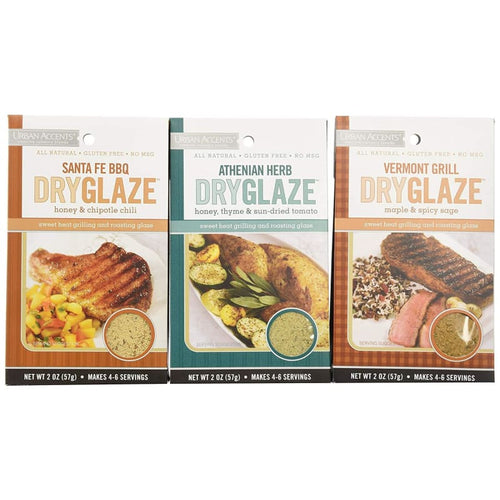 Urban Accents All Natural Gluten Free Grilling And Roasting DryGlaze 3 Flavor Variety Bundle - Spices Seasonings & Extracts