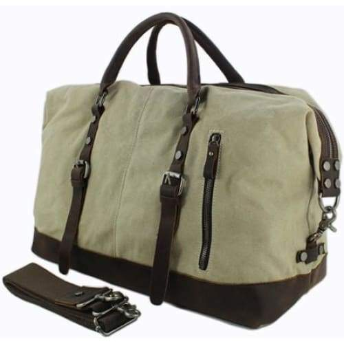 Vintage Military Leather Canvas Duffle Bag - Beige / 45cm - Travel Accessories