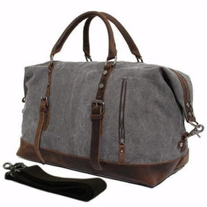 Vintage Military Leather Canvas Duffle Bag - Travel Accessories