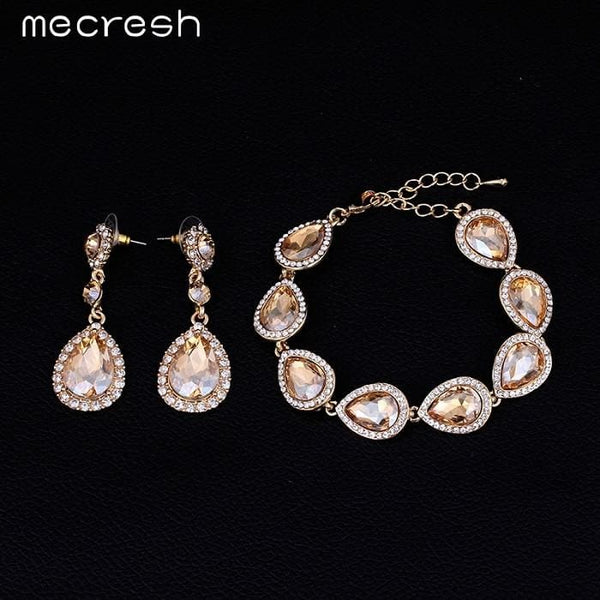 Water Drop Earrings Bracelets Jewelry Set - Champagne - Jewelry set