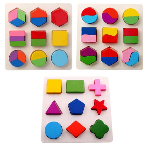 Wooden Geometric Educational Block Puzzles - Baby Toys