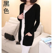 Load image into Gallery viewer, Wool Medium Long Cardigan - black / S - Cardigan