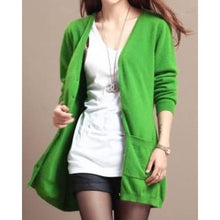 Load image into Gallery viewer, Wool Medium Long Cardigan - green / S - Cardigan
