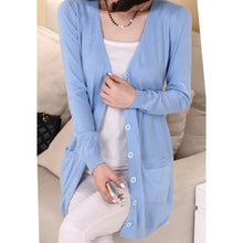 Load image into Gallery viewer, Wool Medium Long Cardigan - light blue / S - Cardigan