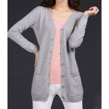 Load image into Gallery viewer, Wool Medium Long Cardigan - light gray / S - Cardigan