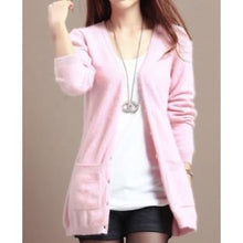 Load image into Gallery viewer, Wool Medium Long Cardigan - pink / S - Cardigan