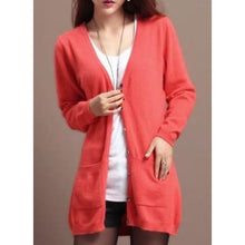 Load image into Gallery viewer, Wool Medium Long Cardigan - Watermelon red / S - Cardigan