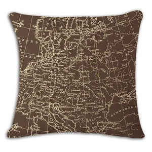 Worldmap Pattern Cotton Linen Pillow Covers - 1 - Pillowcase