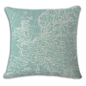 Worldmap Pattern Cotton Linen Pillow Covers - 2 - Pillowcase