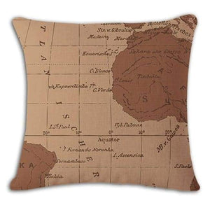 Worldmap Pattern Cotton Linen Pillow Covers - 4 - Pillowcase