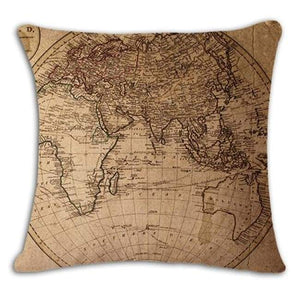 Worldmap Pattern Cotton Linen Pillow Covers - 5 - Pillowcase