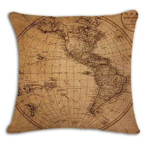 Worldmap Pattern Cotton Linen Pillow Covers - 7 - Pillowcase