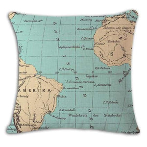 Worldmap Pattern Cotton Linen Pillow Covers - 8 - Pillowcase