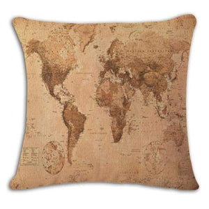 Worldmap Pattern Cotton Linen Pillow Covers - 9 - Pillowcase