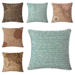 Worldmap Pattern Cotton Linen Pillow Covers - Pillowcase