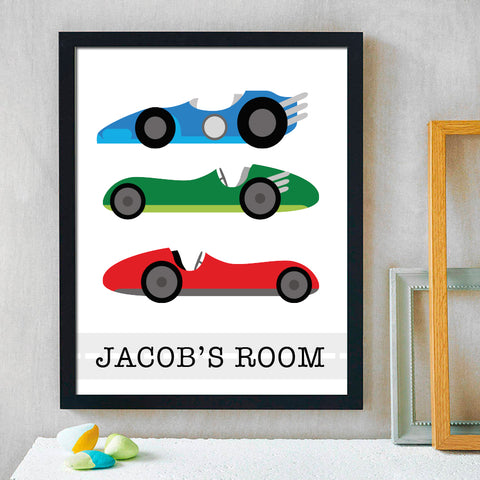 Boys Personalized Car Print