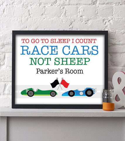 I Count Race Cars Not Sheep Personalized Print