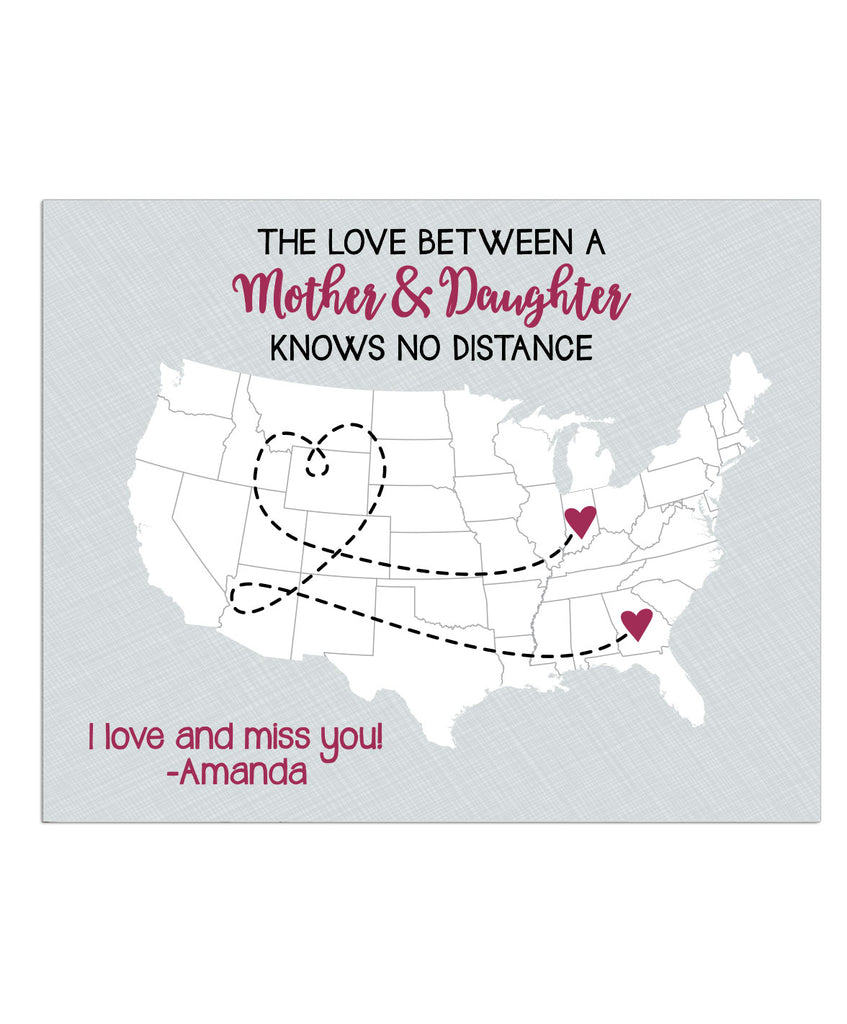 Mother Distance Map Print - Hypolita Co.