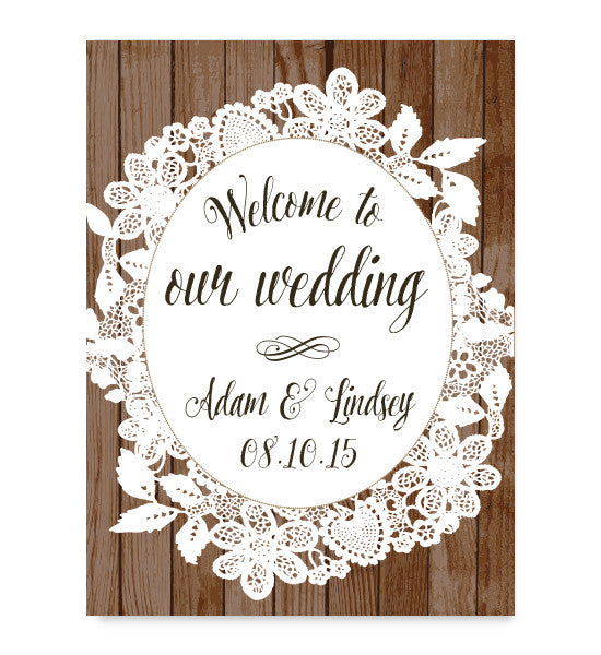 Burlap and Lace Welcome Print