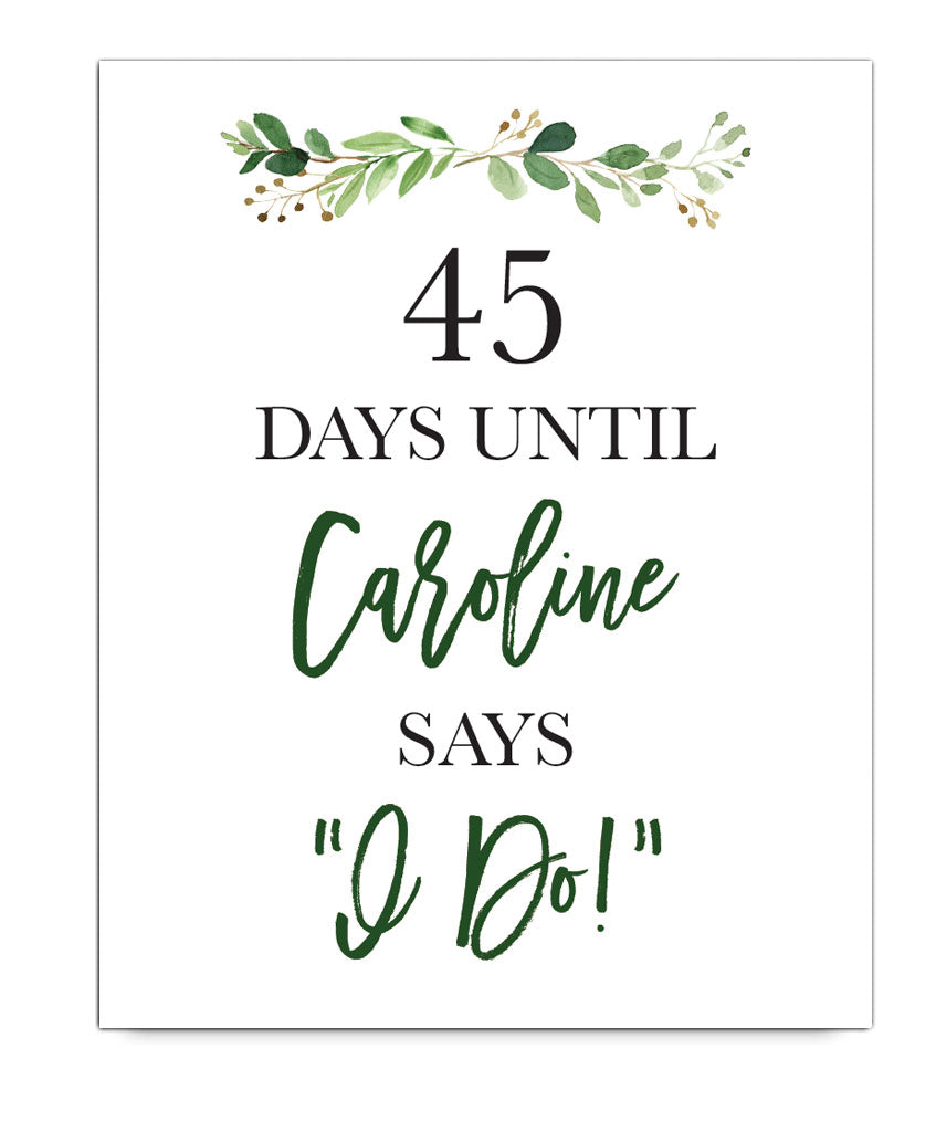 Days Until Wedding Print - Hypolita Co.