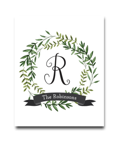 Monogram Leaves Print