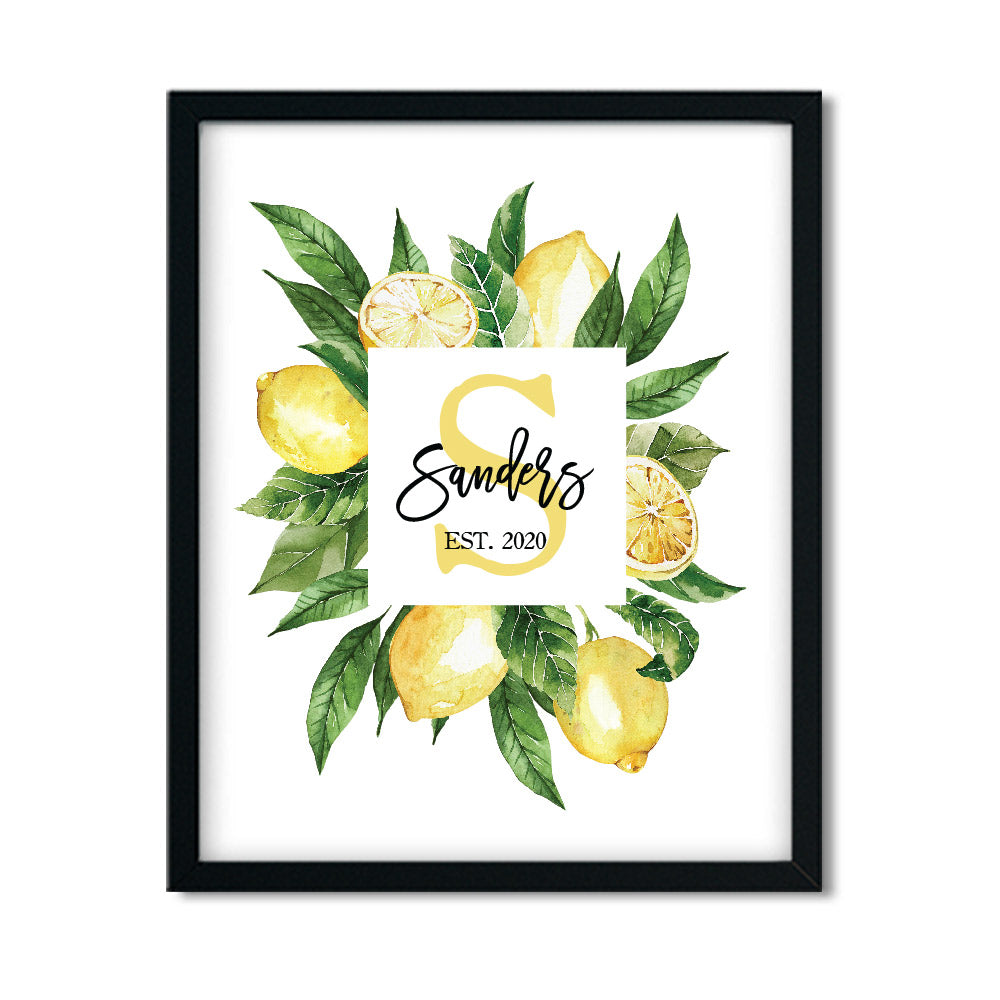 Personalized Lemon Monogram Print