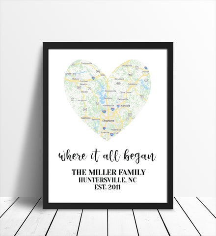 Personalized New Home Map Print