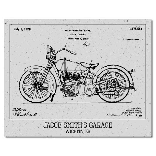 Motorcycle Patent Print - Hypolita Co.