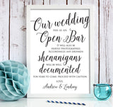 Open Bar Wedding Print
