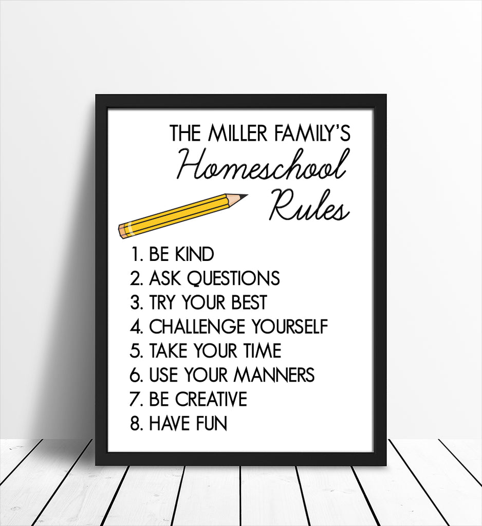 Homeschool Rules Personalized Print