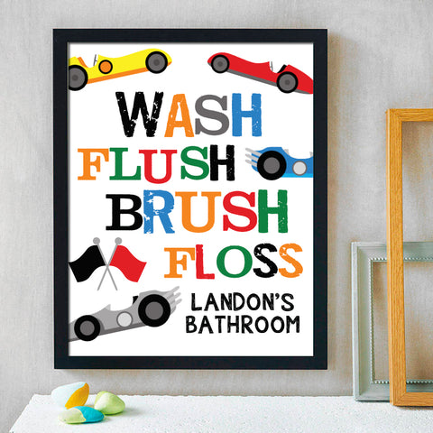 Kids Race Car Bathroom Print