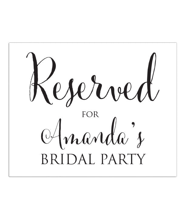 Reserved for Bridal Party Print - Hypolita Co.