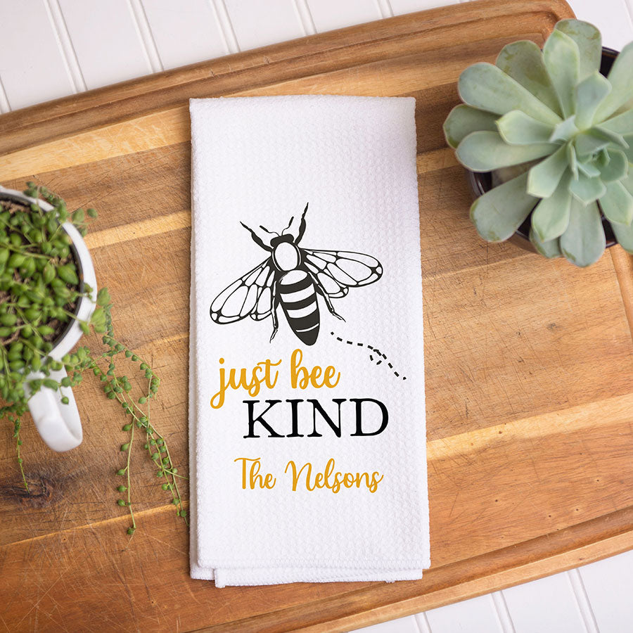 Bee Kind Personalized Dish Towel