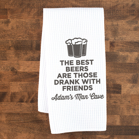 Best Beers Are With Friends Custom Dish Towel