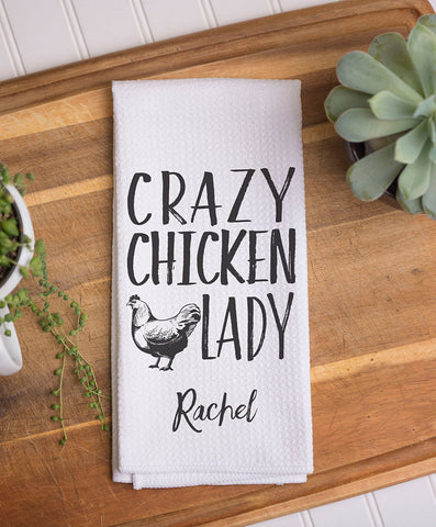 Crazy Chicken Lady Waffle Weave Dish Towel - Hypolita Co.