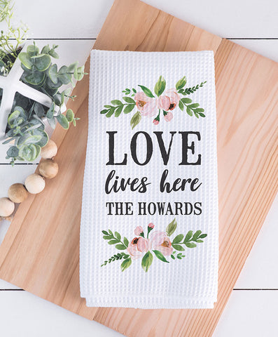 Love Lives Here Valentine's Waffle Weave Dish Towel - Hypolita Co.