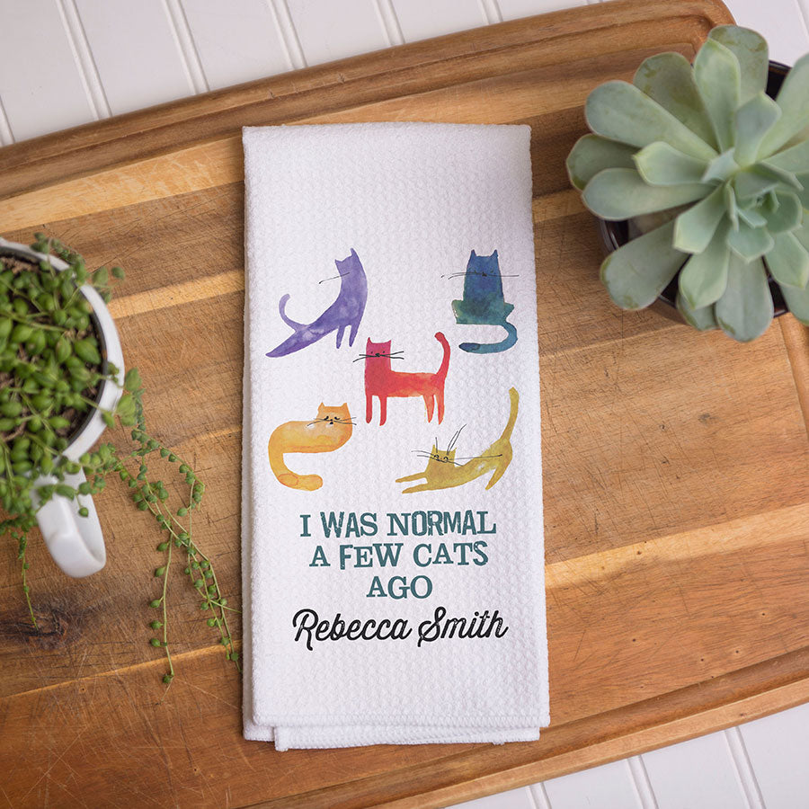 I Was Normal Cats Ago Waffle Weave Dish Towel