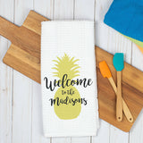 Pineapple Welcome Personalized Dish Towel