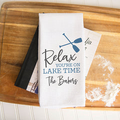 Relax Lake Time Waffle Weave Dish Towel