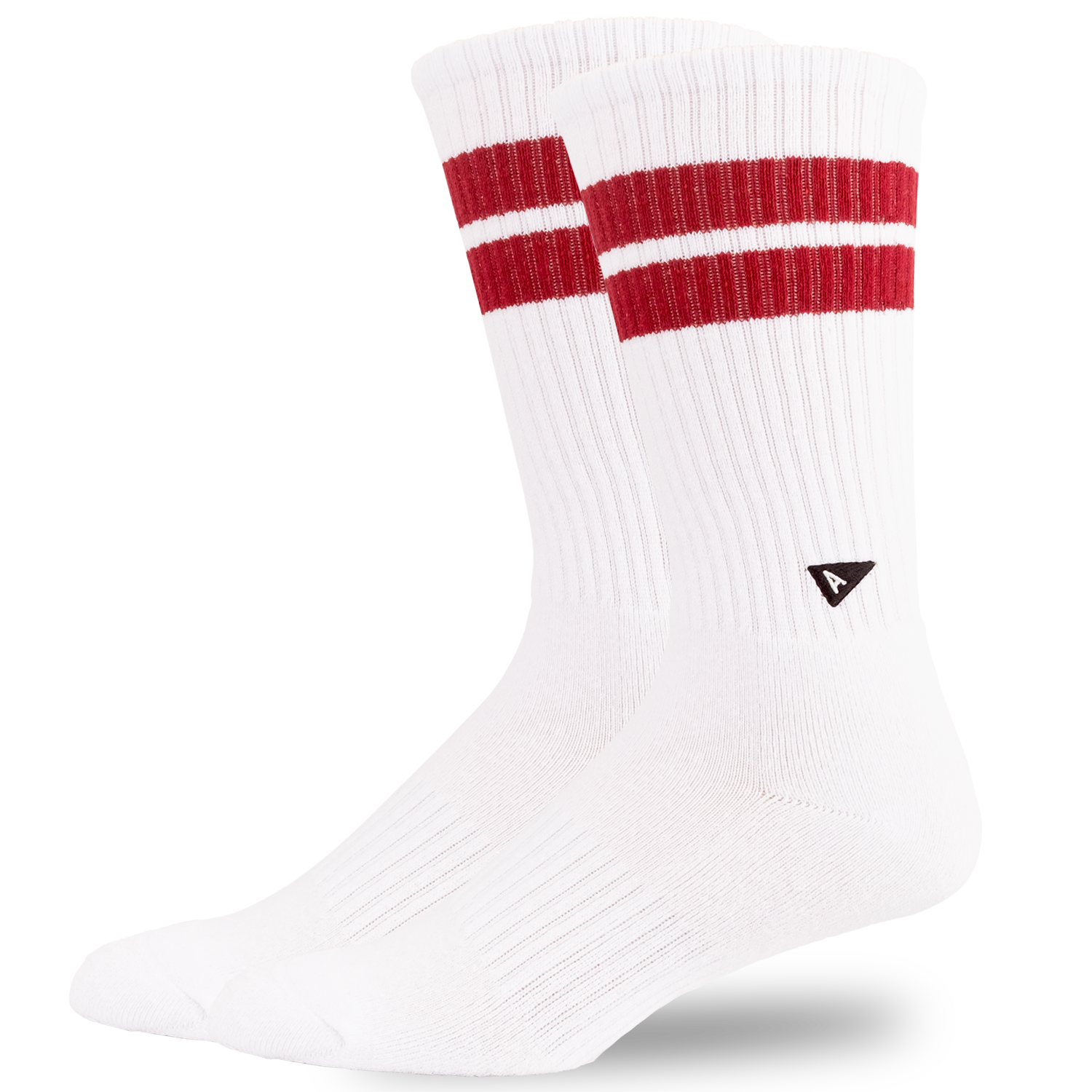 Arvin Goods Crew Sock Long - Retro Stripe - White / Burgundy