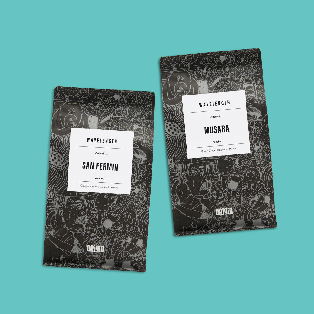 2 bags of limited edition Wavelength x Origin Coffee