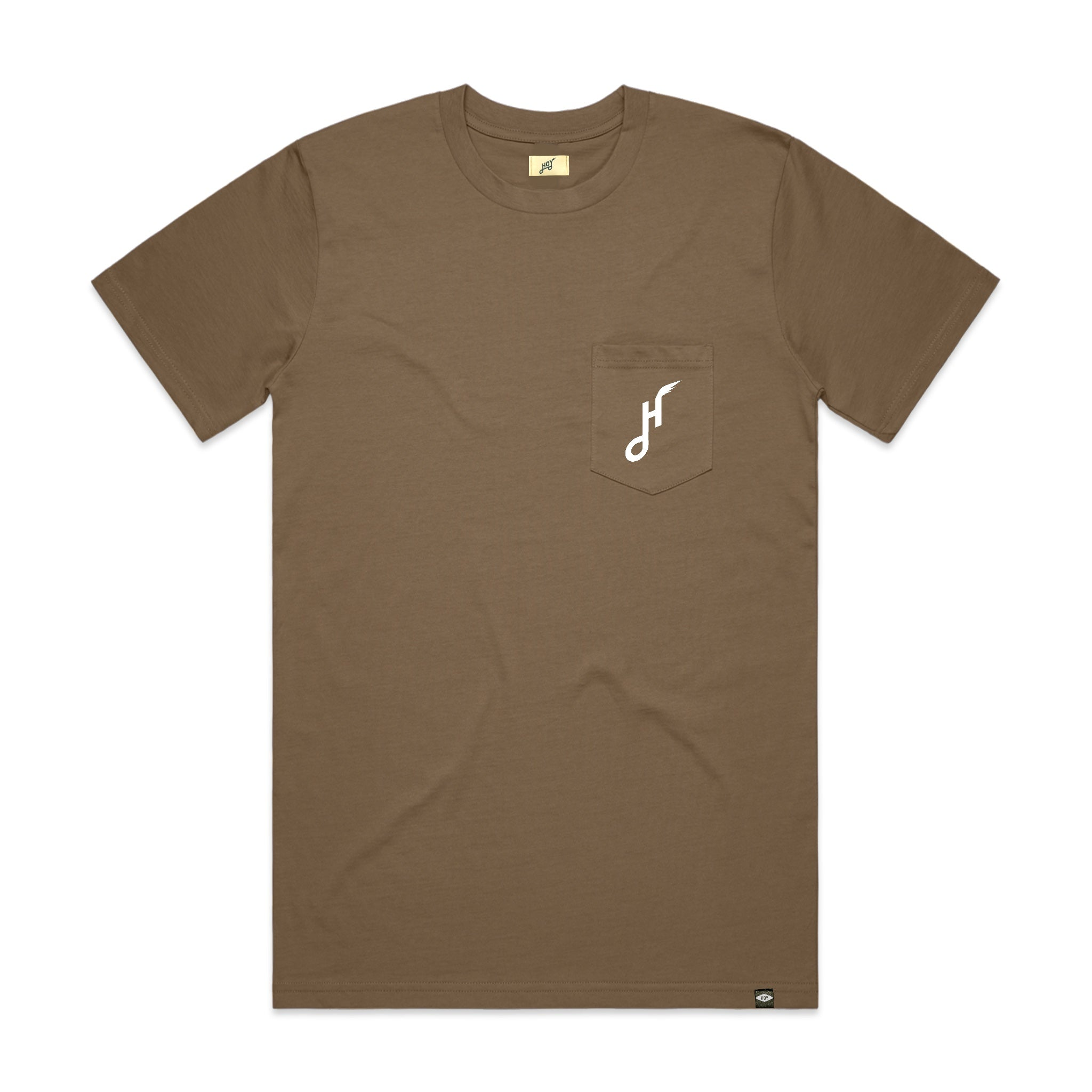 Hoy Downtown Pocket T-shirt - Coffee / Foam