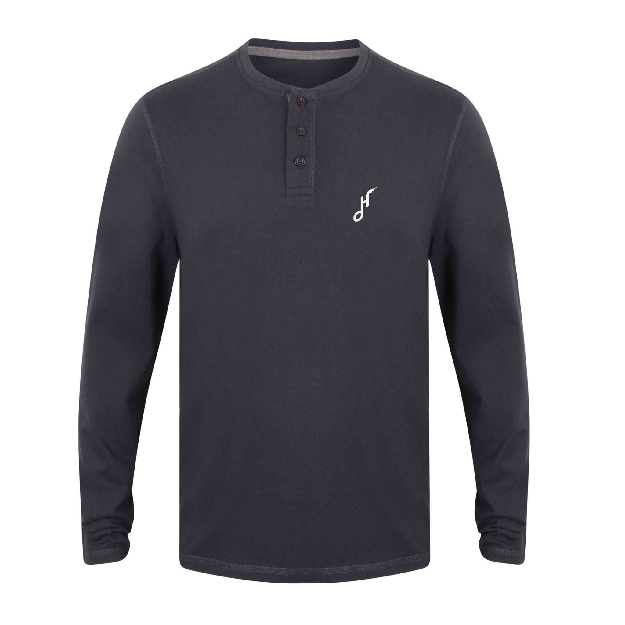 Hoy Harley Long sleeved Henley Shirt - Navy